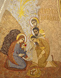 Madrid - Modern mosiac of Adoration of Magi from Almudena stock photography