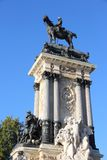Madrid monument. Madrid landmark in Spain. Monument to Alfonso XII in Retiro Park Stock Photos