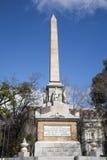 Madrid - monumento Dos de Mayo. From Plaza la Lealtad Royalty Free Stock Photo