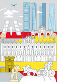 Madrid Monuments. Some of the most important and representative buildings of Madrid stock illustration
