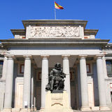 Madrid Museo del Prado with Velazquez statue Stock Photo