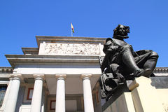 Madrid Museo del Prado with Velazquez statue Stock Photography