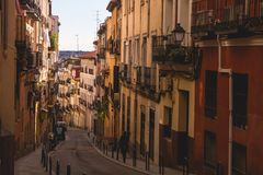 Picturesque Alley In Madrid, Summer evening Stock Photos