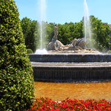 Madrid Neptuno fountain in Paseo de la Castellana Stock Photography