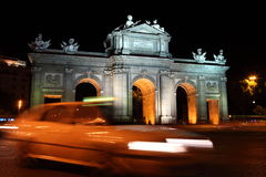 Madrid night scene at Puerta de Alaca Royalty Free Stock Photo