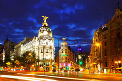 Madrid in night. Spain Royalty Free Stock Photos