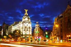 Madrid in night. Spain Royalty Free Stock Photos
