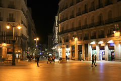 Madrid - Night time at calle del Arenal, pedestrian street Royalty Free Stock Photo
