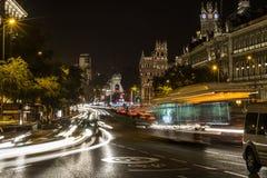 Madrid at night. Traffic at night in Madrid near Gran Via Stock Photo