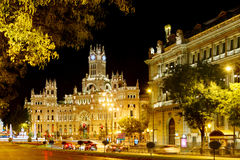 Madrid. Night view of the Cybele Palace (Palacio de Cibeles) or the Palace of Communication on the Cybeles Square (Plaza de Cibeles) in Madrid, Spain. Madrid is Stock Images