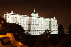 Madrid. Night view of Royal Palace Royalty Free Stock Photography