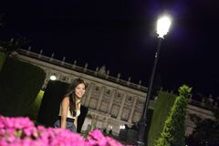 Madrid night woman royalty free stock photo