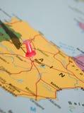 Madrid op de kaart stock foto's