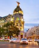 Madrid på skymning, Spanien Royaltyfria Foton