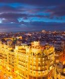 Madrid på skymning, Spanien Royaltyfri Bild