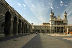 Madrid palace. In sunny day with blue sky covered by cloud stock photography