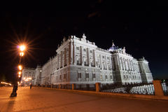 Madrid palace. In the night time Royalty Free Stock Image