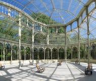 Madrid. The Palacio de Cristal, Crystal Palace, is located in Madrid's landmark public park Retiro Park royalty free stock image
