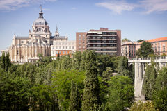 Madrid Palacio Real. Madrid Royal Palace; view from Jardines de las Vistillas. Viaducto sobre la calle Segovia on the right Stock Images