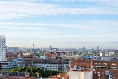 Madrid panorama- arial sikt från tak royaltyfri foto