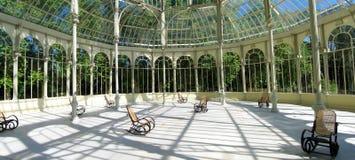 Madrid panorama. The Palacio de Cristal, Crystal Palace, is located  in Madrid's landmark Buen Retiro Park Stock Photography