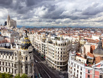 Madrid. Panoramic aerial view of Gran Via, main shopping street in Madrid, Spain Stock Photography