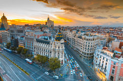 Madrid. Panoramic aerial view of Gran Via street in Madrid in sunset, Spain. Europe Stock Photo