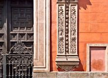 Madrid pattern. Typical spanish ornament on the wall and door in Madrid Stock Photo