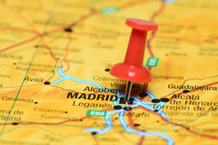Madrid pinned on a map of europe Royalty Free Stock Image