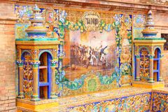 Madrid. Plaza de Espana, Sevilla, Spain - famous old decorative ceramics alcove. Madrid theme Royalty Free Stock Photos
