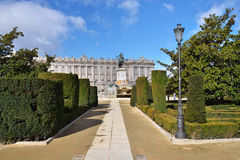 Madrid, Plaza de Oriente Central Gardens Royalty Free Stock Photography