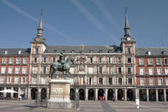 Madrid - Plaza Mayor. Madrid - statue of a rider to the square plaza mayor stock photography