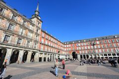 Madrid - Plaza Mayor. MADRID, SPAIN - OCTOBER 22, 2012: People visit Plaza Mayor in Madrid, Spain. 3.2 million people live in Spanish capital city. It is the 3rd royalty free stock photography