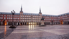 Madrid - Plaza Mayor in morning dusk Royalty Free Stock Photos