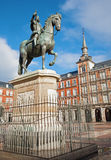 Madrid - Plaza Mayor in morning light with the statue of Philips III Royalty Free Stock Image