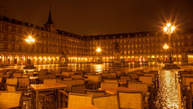 Madrid - Plaza Mayor in rainy night Royalty Free Stock Photography