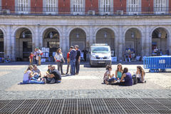 Madrid. At the Plaza Mayor Royalty Free Stock Image