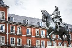 Madrid Plaza Mayor with statue of king Philips III. In Spain Royalty Free Stock Images