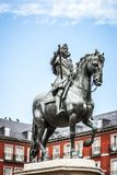 Madrid Plaza Mayor with statue of king Philips III. In Spain Royalty Free Stock Photos