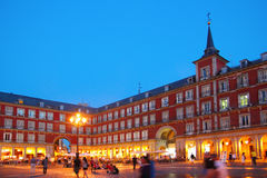 Madrid Plaza Mayor typical square in Spain. Madrid Plaza Mayor night lights typical square in Spain Royalty Free Stock Image
