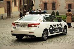 Madrid police vehicle. Madrid Municipal Police forces vehicle on the streets of Madrid, Spain Royalty Free Stock Images