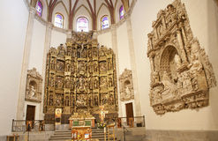 Madrid - Presbytery and renaissance altar of Capilla del Obispo Stock Photos