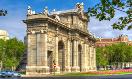 Madrid Puerta de Alcala - Spain. Puerta de Alcala view from Parque del Retiro entrance. Historic monument in Madrid. Spain. Madrid Landmark Royalty Free Stock Images