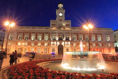 Madrid - Puerta del sol. Puerta del sol in Madrid at night, Spain Royalty Free Stock Photos