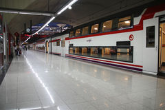 Madrid railway station. MADRID - SEPTEMBER 7: Train station Nuevos Ministerios with RENFE train on September 7, 2009 in Madrid. RENFE is the most important and Stock Photo
