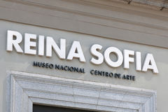 Madrid - Reina Sofia Museum sign close up Stock Images