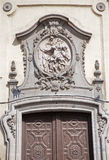 Madrid - Relief and baroque portal from main portal of Basilica di San Miguel Stock Photos