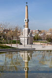Madrid Rio Vista Park, pijpen en machtsobelisk Stock Foto's
