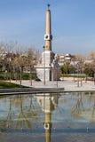 Madrid Rio Vista Park, rör och maktobelisk Arkivfoton