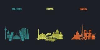 Madrid, Roma y París stock de ilustración